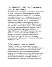 DEVELOPMENT OF THE ECONOMIC THEORY OF VALUE