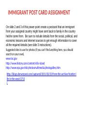 IMMIGRANTS POST CARD POWER POINT Template and Instructions K-Level.pptx