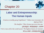 Chapter 20 - Labor and Entrepreneurship- the human inputs