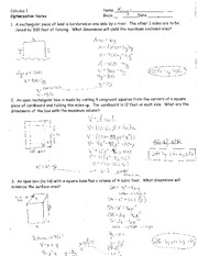Worksheets Application Of Optimization  Work Sheet With Solution calculus optimization worksheet with answers intrepidpath practice b 1 name worksheet