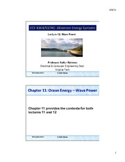 Lecture 12 - Ocean Energy Systems - Wave Power