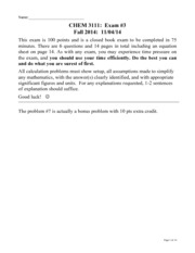 CHEM 3111 Exam 3 fall 2014