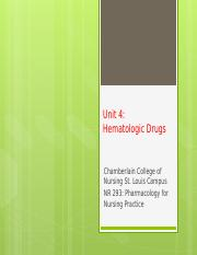 NR293 UNIT 4 Anemia&Coag Drugs_class