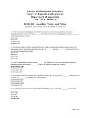 ECON403 sample questions for chapters 21 and 24 answers