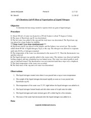 heat of a peanut lab report Sample informal lab report from chemistry 31  title: determination of heat capacity  introduction: the purpose of this experiment was to determine the heat capacity of an adiabatic.