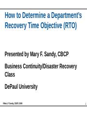How to Determine a Departments Recovery Time Objective (RTO)