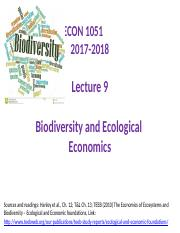 Lecture 9 - Ecological and Biodiversity Econ. - 7 Dec 2017.pptx