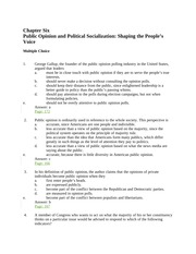 patterson8_tb_ch06 Public Opinion and Political Socialization Shaping the People's Voice