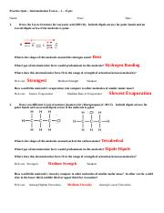 Key - Practice Quiz -  Lewis Structures, Molecular Geometry  Intermolecular Forces.doc