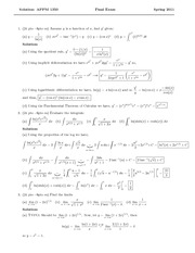 Final Exam Solution Spring 2011 on Calculus 1 for Engineers