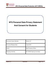 NTU Data Privacy Statement and Consent for Students