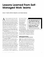 Lessons Learned From Self-Mangaed Work Teams