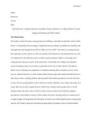Article Review Using the Internet to Facilitate Positive Attitudes of College Students Toward Aging