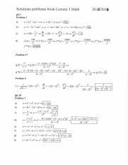 Solutions problems book lecture 3