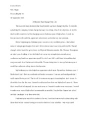 Preliminary Essay Assignment (A Moment That Changed My Life)
