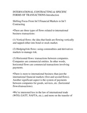 INTERNATIONAL CONTRACTING & SPECIFIC FORMS OF TRANSACTIONS