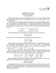 Math 120 Derivative Rule Notes