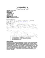 Econ 431 Syllabus Winter 2012 Updated 2