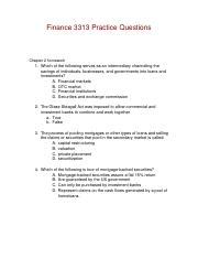 Finance 3313 Practice Questions