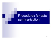 Chapter 4. Procedures for data summarization