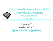 Lecture Notes F on Analysis of Algorithms