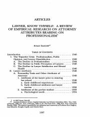 LawyerKnow Thyself- A Review of Empirical Research on Attorney A