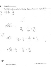 math homework: fractions part two