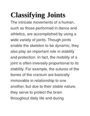 Classifying Joints