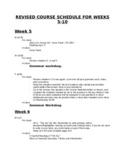 Revised Course Schedule - Weeks 5-10