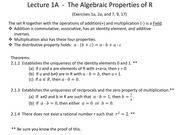 Lecture 1A  -  The Algebraic Properties of R