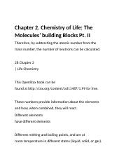 Chapter 2. Chemistry of Life - The Molecules' building Blocks Pt. II.docx