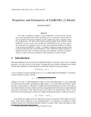 Properties and Estimation of GARCH(1,1) Model