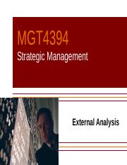 MGT4394 - (F 16) Day 4 External Analysis (T#1)