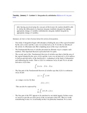 Lecture 1 (Integration by Substitution)