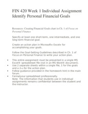 FIN 420 Week 1 Individual Assignment Identify Personal Financial Goals