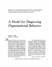 A Model For Diagnosing Organizational Behavior