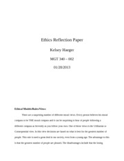 Ethics Reflection Paper