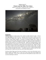 Clusters and Our Milky Way Galaxy Spring 2013(1)