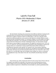 Lab #1 Free Fall report.docx