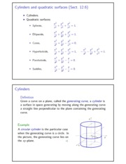 Cylinders and quadratic surfaces