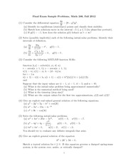 Sample Final Exam 1 on Ordinary Differential Equations