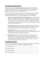Group Assignment Guidelines and Advice