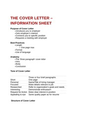 The Cover Letter - Information Sheet