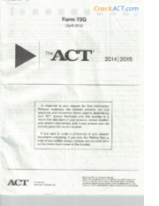 ACT Practice Test 2014-15 (73G Questions)