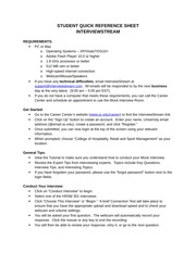 INTERVIEWSTREAM HRSM 301 STUDENT QUICK REFERENCE SHEET(1)
