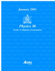 Physics 30 Jan 01 Diploma Exam