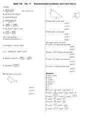 definition of the trigonometric functions cheat Trig cheat sheet definition of the trig functions right triangle definition for this  definition we assume that 0 θ  formulas and identities tangent and.