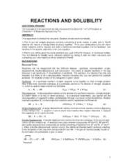 Expt 5 - Reactions and Solubility