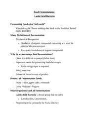 Lecture 13 Notes, Food Fermentation