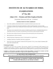(www.entrance-exam.net)-Institute of Actuaries Of India-Subject ST4- Pensions and Other Employee Ben